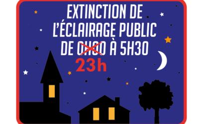Extinction de l'éclairage public : nouveaux horaires